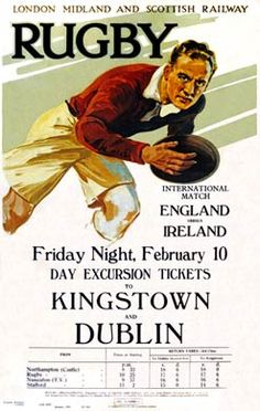 'Rugby, LMS poster, by . Museum quality art prints with a selection of frame and size options, canvases, postcards and mugs. SSPL Science and Society Picture Library Rugby Poster, National Railway Museum, England Ireland, Railway Posters, Rugby Players, Rugby League, Art Bag, Sports Art, Sports Posters