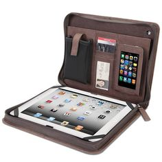 The Kangaroo Leather iPad Portfolio - Hammacher Schlemmer offers great solutions for carrying office technology