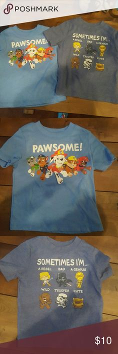 2 Old Navy 2T Boy Shirts 1 blue Paw Patrol shirt 1 blue Star Wars shirt  No holes or stains. Old Navy Shirts & Tops Tees - Short Sleeve