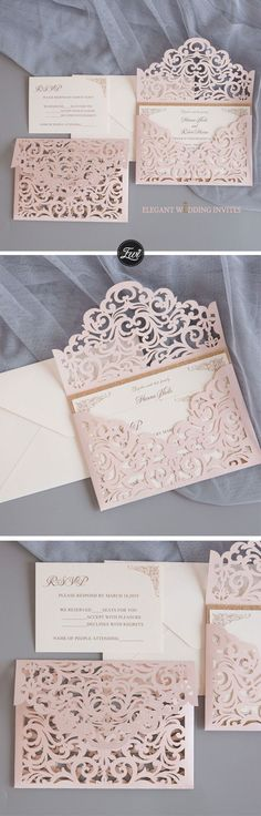 Blush shimmer laser cut sleeve with classic invitation and glittery backer EWWS240