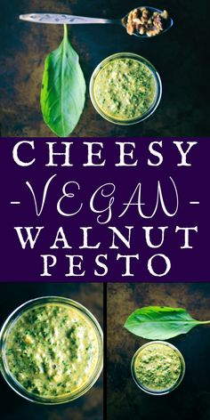 Cheesy Vegan Walnut Pesto (Gluten-Free) - This amazingly creamy and delicious Cheesy Vegan Walnut Pesto is made from a blend of basil, spinach, kale, garlic, walnuts, and nutritional yeast! It is vegan, gluten-free, healthy, vibrant and ridiculously tasty. It makes for one perfect green condiment ready to use on any savory dish! | www.moonandspoonandyum.com #pesto #vegan #cheesy #cheezy #walnut #basil #kale #spinach #nutritionalyeast #glutenfree #green #condiment #sauce #easy #spring…