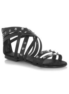 Evans Black Studded Leather Gladiator Sandals > www.evans.co.uk.