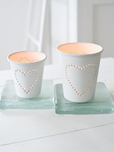 White heart tealight holders