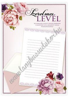 Lánybúcsúdekor Rose emléklap-szett – Szerelmes-level Rose, Pink, Roses