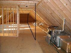 Advice insulating a finished attic wall Attic Apartment, Attic Rooms, Attic Playroom, Attic Loft, Attic Renovation, Attic Remodel, Finishing An Attic Space, Bungalow Interiors, Finished Attic