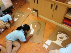 Another great lesson with grade 3's. If you have lots of recycled cardboard hanging around, this is the project for you!