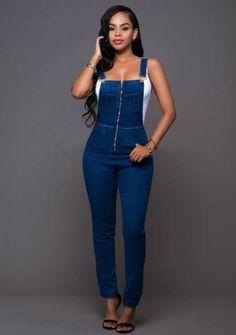 Deep Blue Flexible Fit Zip Jean Overalls
