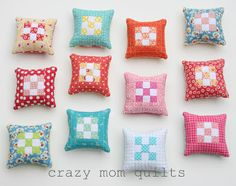 crazy mom quilts: mini 9 patch pin cushion tutorial