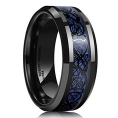 King Will CLASSIC Men's 8mm Blue Carbon Fiber Black Celtic Dragon Tungsten Carbide Ring Wedding Band – Blue Pelican Gifts