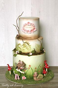 Flower Fairy and slug - Cake by Lorna Pretty Cakes, Beautiful Cakes, Amazing Cakes, Cupcakes, Cupcake Cakes, Shoe Cakes, Airbrush Cake, Baby Girl Cakes, Fairy Cakes