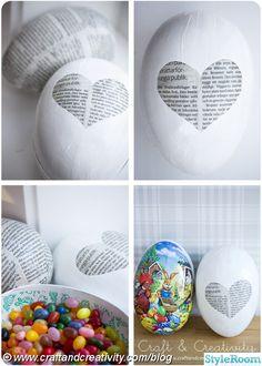 påsk,påskägg,pyssel,påskpyssel,diy,tidningspapper,decoupage,hjärta,ägg