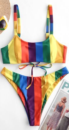 Cute Rainbow Striped High Leg Bikini Swimsuit Style: Fashion Swimwear Type: Bikini Bikini Type: High Cut Bikini Gender: For Women Material: Polyester,Spandex Bra Style: Padded Support Type: Wire Free Collar-line: Straps Pattern Type: Rainbow,Striped Trendy Bikinis, Cute Bikinis, Beachwear Fashion, Bikini Fashion, Bikini Swimwear, Bikini Set, Bikini Types, High Leg Bikini, Bikini Pattern