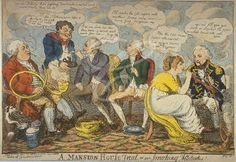 """""""A Mansion House treat - or smoking attitudes""""; showing on the right Lord Nelson, smoking a long pipe, phallic in design. He and Lady Hamilton are making metaphorical remarks on the subject. Other figures present include William Pitt, seated in the centre, and the Lord Mayor, Sir William Staines (James Gillray, 1800)"""