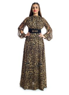 Step up your wardrobe with a blend of modern and traditional style in this classy maxi dress by Xela! It features a flowy chiffon fabric with leopard prints details and slits on the shoulders and sleeves complimented by a contrast belt on the waist to give you that elegant look. This dress makes an ideal choice for social gathering or evening events.