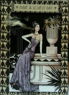 Card using Art Deco papers :) Illustrations, Illustration Art, Paris Cards, Kanban Crafts, Art Deco Cards, Art Eras, Art Deco Dress, Beautiful Handmade Cards, Cricut