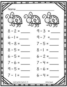 Spring Kindergarten Math Activities and Worksheets for the Common Core - le math - Kindergarten Addition Worksheets, First Grade Math Worksheets, Kindergarten Math Activities, Preschool Math, Worksheets For Kids, 1st Grade Math, Subtraction Kindergarten, Counting Activities, Math Math