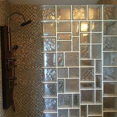 Prefabricated glass block shower wall with multiple patterns and sizes | Innovate Building Solutions