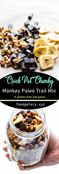 CROCK POT CHUNKY MONKEY PALEO TRAIL MIX RECIPE Paleo Trail Mix, Trail Mix Recipes, Spicy Recipes, Keto Recipes, Cooking Recipes, Drink Recipes, Cake Recipes, Easy Dinner Recipes, Breakfast Recipes