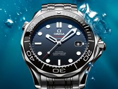 OMEGA's sporty Seamaster collection is a tribute to the brand's maritime legacy. This exquisite example of our renowned watchmaking pays homage to OMEGA's dive watch heritage and our adventurous pioneering spirit.This model features a blue, wave-patterned dial with a date window at the 3 o'clock position. The distinctive dial is visible through a scratch-resistant sapphire crystal. The blue unidirectional rotating bezel is mounted on a 28 mm stainless steel case on a stainless steel…