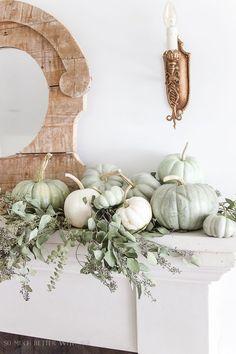DIY painted heirloom pumpkin tutorial. Now you can save money and plaint plastic pumpkins to get that expensive heirloom pumpkin look!