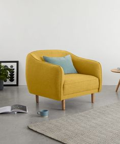 Haring Armchair, Retro Yellow   MADE.com Retro Armchair, Kitchen Family Rooms, Tub Chair, Accent Chairs, Bedroom Decor, Sofa, Yellow, Ideas, Furniture