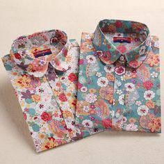 2016 Floral Donne Camicette Camicia A Maniche Lunghe Donna Camice di Cotone Cherry Casual Parti Superiori Delle Signore Animal Print Blouse Plus Size 5XL