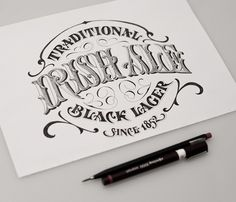 Typeverything.com Irish Ale – Traditional Black Lager lettering by Andreas Ejerfors.