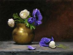"https://www.facebook.com/MiaFeigelson ""Anemones""  By Hayley Brown, from Surrey, England, UK - Contemporary Artist  - oil on canvas; 25 x 30 cm - ""I bought these lovely purple Anemones from a flower stall near where I used to live in Florence, Italy."" Hayley Brown http://www.artistsandillustrators.co.uk/"