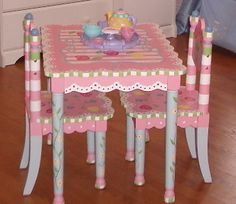 Coming Soon. Painted ChairsTable And Chair SetsDecoupage ChairPrincess ... & Adorable! Black white pink painted table and chairs by Lora ...