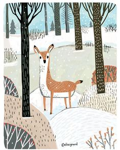 Winter is coming. This was painted in Photoshop. #deer #winter #illustrationoftheday #forest