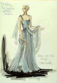 Edith Head Blue Gown Sketch - 30  Cool Fashion Sketches, http://hative.com/30-cool-fashion-sketches/,