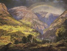 View from Stalheim. Schilderij Johan Christian Dahl (1842).