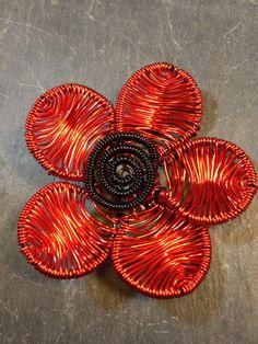 Poppy flower brooch hat pin. Colour red New bijoux by poppyredshop