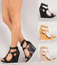 NEW Strappy Gladiator Wedge Sandal~Open Toe High Heel Women Platform Pump Shoe #Naturebreeze #PlatformsWedges