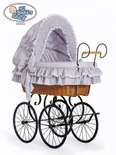 My Sweet Baby - Retro Wicker Crib Moses Basket - Grey/White