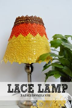 decoupaged lace lamp uses Martha Stewart Crafts Decoupage - click thru for the full #DIY tutorial