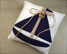Nautical wedding ring pillow sailboat nautical by EandAHeritage, $67.00