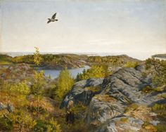 Digitalt Museum - Vårdag ved havet [Maleri] ' Spring day by the sea' Painting by Theodor Kittelsen, famous for his illustrations of Norwegian folk tales.