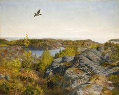 Digitalt Museum - Vårdag ved havet [Maleri] ' Spring day by the sea' Painting by Theodor Kittelsen, famous for his illustrations of Norwegian folk tales.