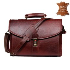 4e3c18e52b Leather World 11 Liter Brown Genuine Leather Designer Laptop with Zip  Closure Travel Bag Leather Office