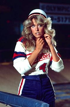 "Farrah Fawcett joining the L.A. Tornadoes roller derby team in an episode ""Charlie's Angels,"" 1976."