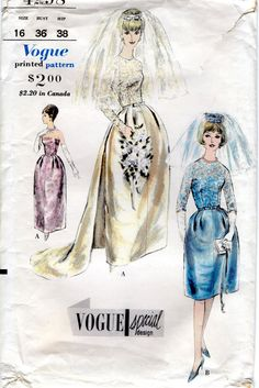 Vogue 4298 1960s Misses Wedding Dress Pattern Detachable Train Coronet and Veil with Label  Womens Vintage Sewing Pattern Size 16 Bust 36