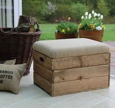 Wooden Crate Storage Seat/Rustic wood storage box/Footstool with Padded Upholstered Hessian Hinged Lid/Crate seat with Jute padded lid Crate Ottoman, Upholstered Footstool, Wooden Storage Boxes, Crate Storage, Smart Storage, Outdoor Footstool, Footstool Ideas, Wooden Footstool, Patio Loveseat