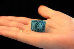 Macrame Turkenite Ring Lazur macrame jewelry por KaramelMacrame