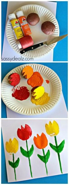 Tulip Craft for Kids using old potatoes! card idea craft Tulip Craft for Kids us Preschool Crafts, Easter Crafts, Fun Crafts, Crafts For Kids, Craft Kids, Spring Theme, Spring Art, Spring Activities, Activities For Kids