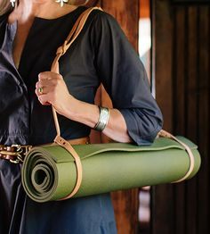 Leather Yoga Mat & Blanket Strap by The Beebe Company on Scoutmob