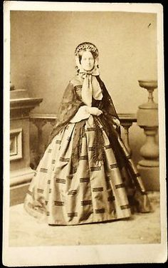 CDV Full Standing CIVIL WAR ERA Lady Wearing Bonnet   eBay