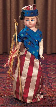 German Wax Doll in Patriotic Costume with Abraham Lincoln Provenance. Circa 1865. http://Theriaults.com