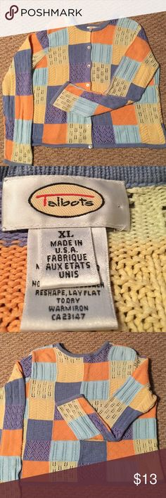 """TALBOTS SPRING PASTEL PATCHWORK BUTTON DWN SWEATER 🌺....JUST IN TIME FOR SPRING.....TALBOTS COLORFUL PASTEL PATCHWORK BUTTON DOWN SWEATER.  **VERY PRETTY**  100% cotton, 7 pearl like buttons.  Each color has a different style/pattern.  The sweater's neck, bottom and sleeve bottom are trimmed in dusty blue.  Details: machine wash cold, gentle cycle.  Lay flat to dry.  Measurements:  chest 24"""", length 21.5"""" and sleeve length 19.5"""".  **THE ACTUAL SWEATER COLORS ARE BETWEEN PICTURE #1 AND…"""