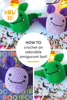 Get your hooks into these adorable amigurumi bats! The perfect Halloween make you can whip up in a weekend. | Learn with LoveCrafts.com Halloween Make, Little Monsters, Amigurumi Toys, Stuffed Toys Patterns, Bats, Creepy, Hooks, Crochet Hats, Homemade